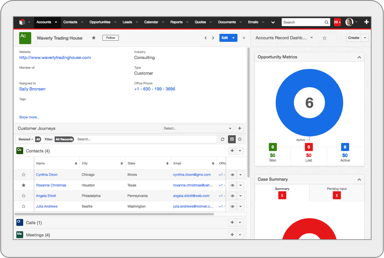 SugarCRM Accounts Business Card