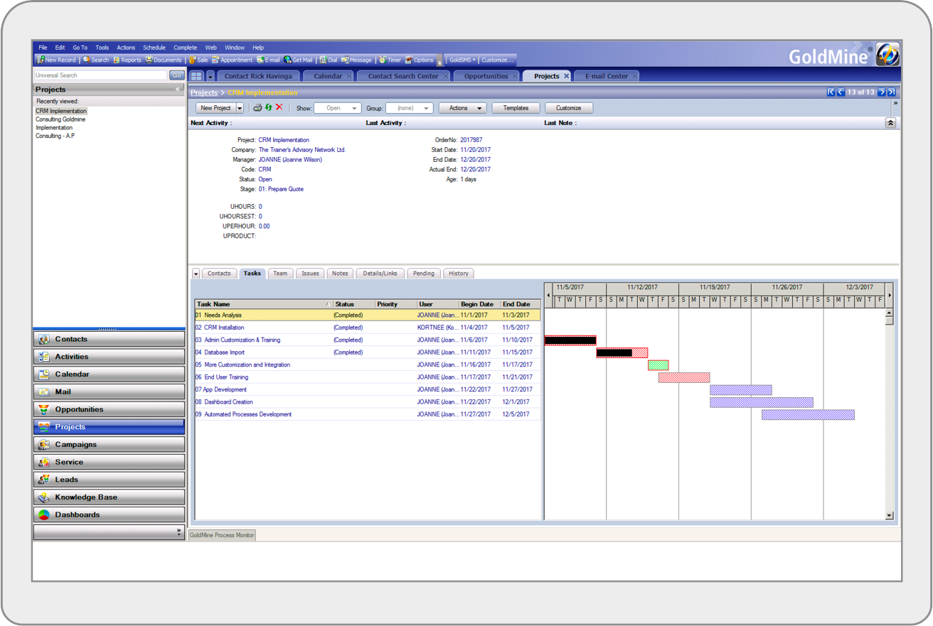 GoldMine CRM Projects